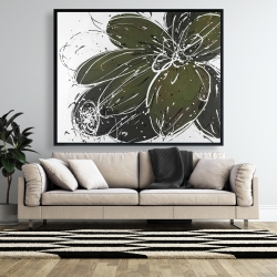 Framed 48 x 60 - Green flower with splash outline