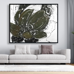 Framed 48 x 60 - Abstract flower with paint splash