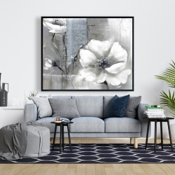 Framed 48 x 60 - Monochrome and silver flowers