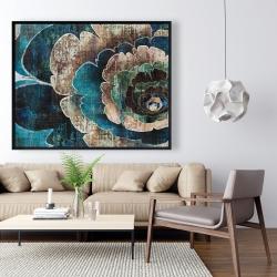 Framed 48 x 60 - Blue flower montage