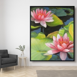 Framed 48 x 60 - Water lilies and lotus flowers