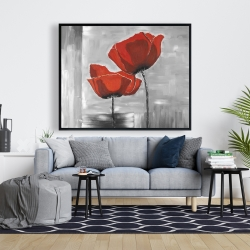 Framed 48 x 60 - Two red flowers on a grayscale background