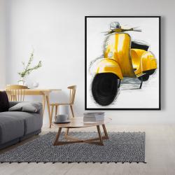 Framed 48 x 60 - Yellow italian scooter