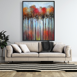 Framed 48 x 60 - Abstract and colorful forest