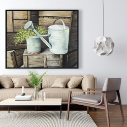 Framed 48 x 60 - Vintage watering can