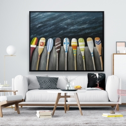 Framed 48 x 60 - Colorful paddles on the dock