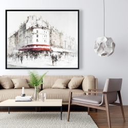 Framed 48 x 60 - White street with red accents