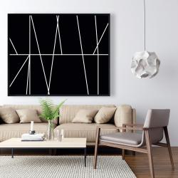 Framed 48 x 60 - White stripes on black background