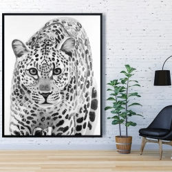 Framed 48 x 60 - Leopard ready to attack