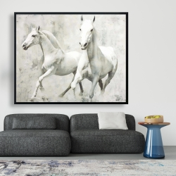 Framed 48 x 60 - Two white horse running