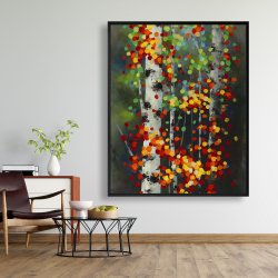 Framed 48 x 60 - Colorful dotted leaves birches