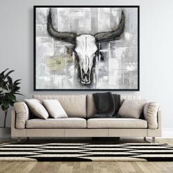 Framed 48 x 60 - Bull skull on an industrial background