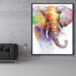 Framed 48 x 60 - Beautiful and colorful elephant
