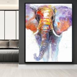 Framed 48 x 60 - Colorful walking elephant