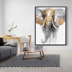 Framed 48 x 60 - Golden elephant