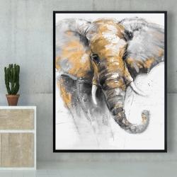Framed 48 x 60 - Beautiful golden elephant