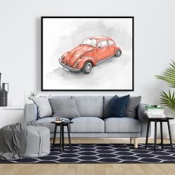 Framed 48 x 60 - Vintage red beetle