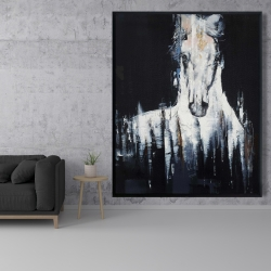 Framed 48 x 60 - Abstract white horse on black background