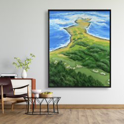 Framed 48 x 60 - Island overhead view with waves