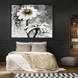 Framed 48 x 60 - Abstract daisies flowers
