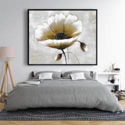 Framed 48 x 60 - Modern beige flower