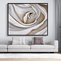 Framed 48 x 60 - White rose closeup