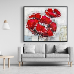 Framed 48 x 60 - Abstract and texturized red flowers