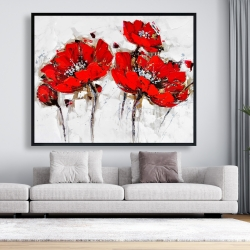 Framed 48 x 60 - Abstract poppy flowers