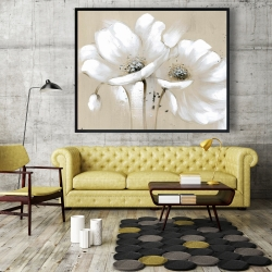Framed 48 x 60 - White abstract wild flowers
