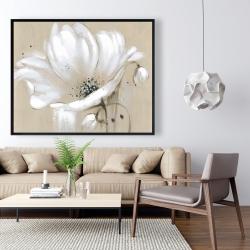 Framed 48 x 60 - White abstract wild flower