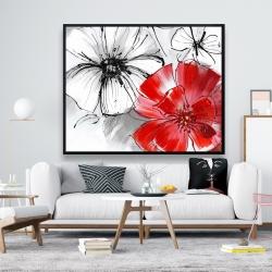 Framed 48 x 60 - Red & white flowers sketch