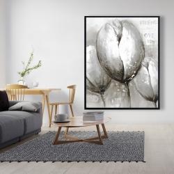 Framed 48 x 60 - Three white tulips