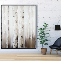 Framed 48 x 60 - Abstract white birches