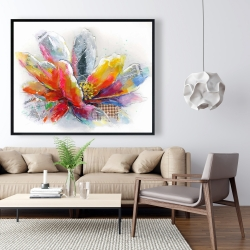Framed 48 x 60 - Abstract flower with texture