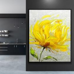 Framed 48 x 60 - Yellow fluffy flower