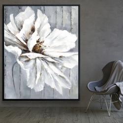Framed 48 x 60 - Flower on wood