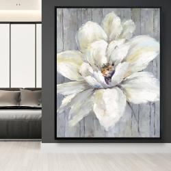 Framed 48 x 60 - White flower on wood