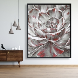Framed 48 x 60 - Gray and pink flower