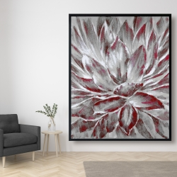 Framed 48 x 60 - Red and gray flower