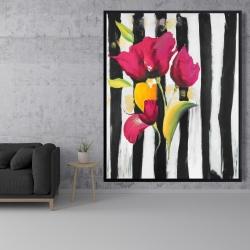Framed 48 x 60 - Pink flowers on black stripes