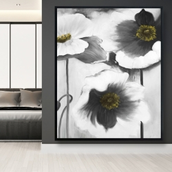 Framed 48 x 60 - Black and white flowers
