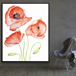 Framed 48 x 60 - Watercolor poppies