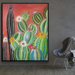 Framed 48 x 60 - Rainbow cactus