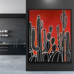 Framed 48 x 60 - Black tall cactus