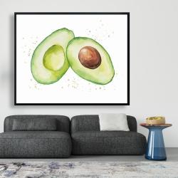 Framed 48 x 60 - Watercolor open avocado