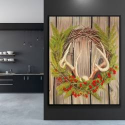 Framed 48 x 60 - Christmas wreath with panache