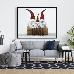 Framed 48 x 60 - Three christmas gnomes