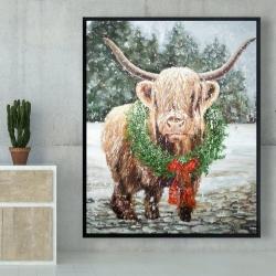 Framed 48 x 60 - Highland christmas cow