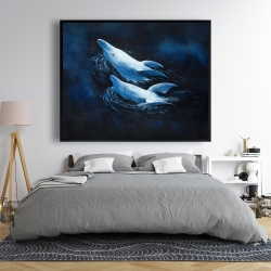 Framed 48 x 60 - Two swimming dolphins