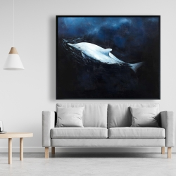Framed 48 x 60 - Swimming dolphin